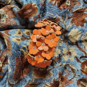 Barecelet orange floral w/rhinestones